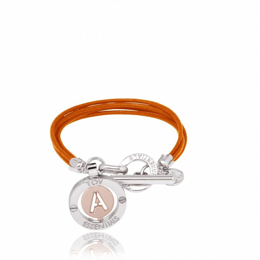 Cord bracelet with setting - Silver/ Oranje