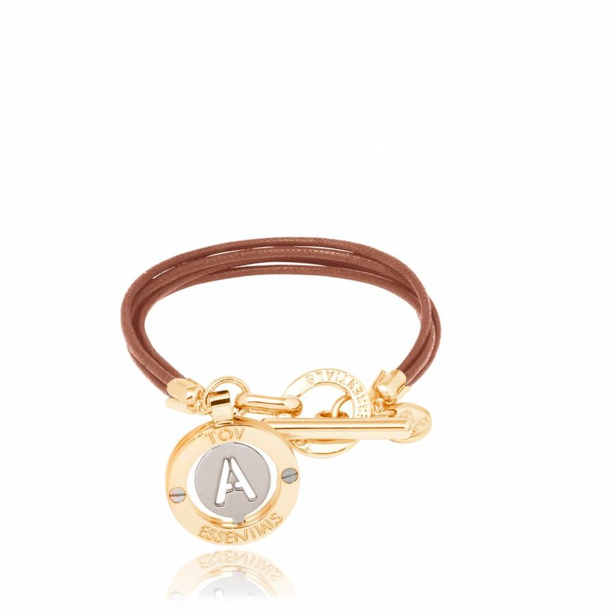 Cord bracelet with setting - Gold/ Cognac