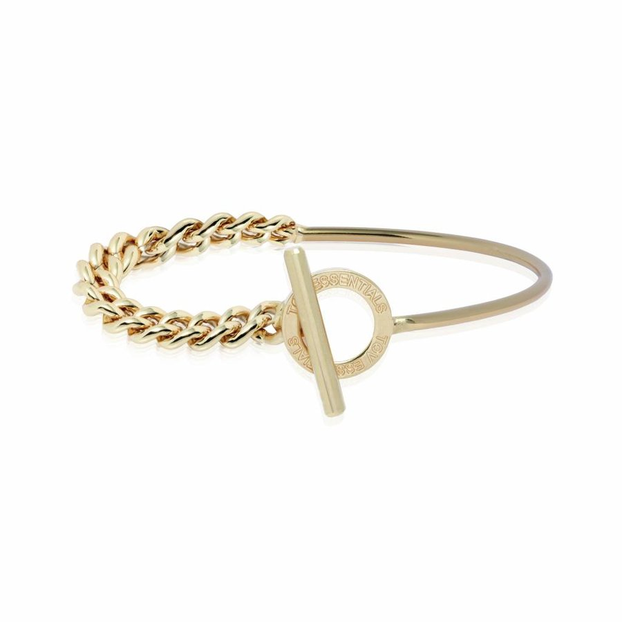 Cuff & chain bracelet - Light gold