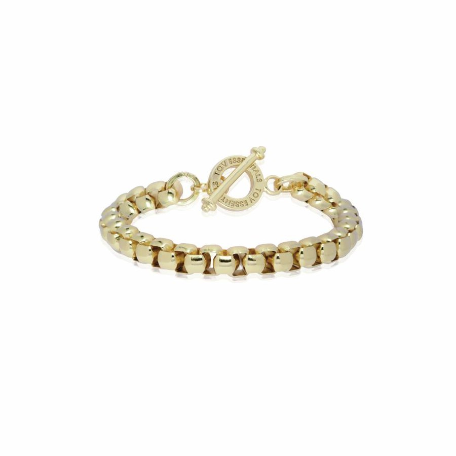 Round venice chain armband - Champagne goud