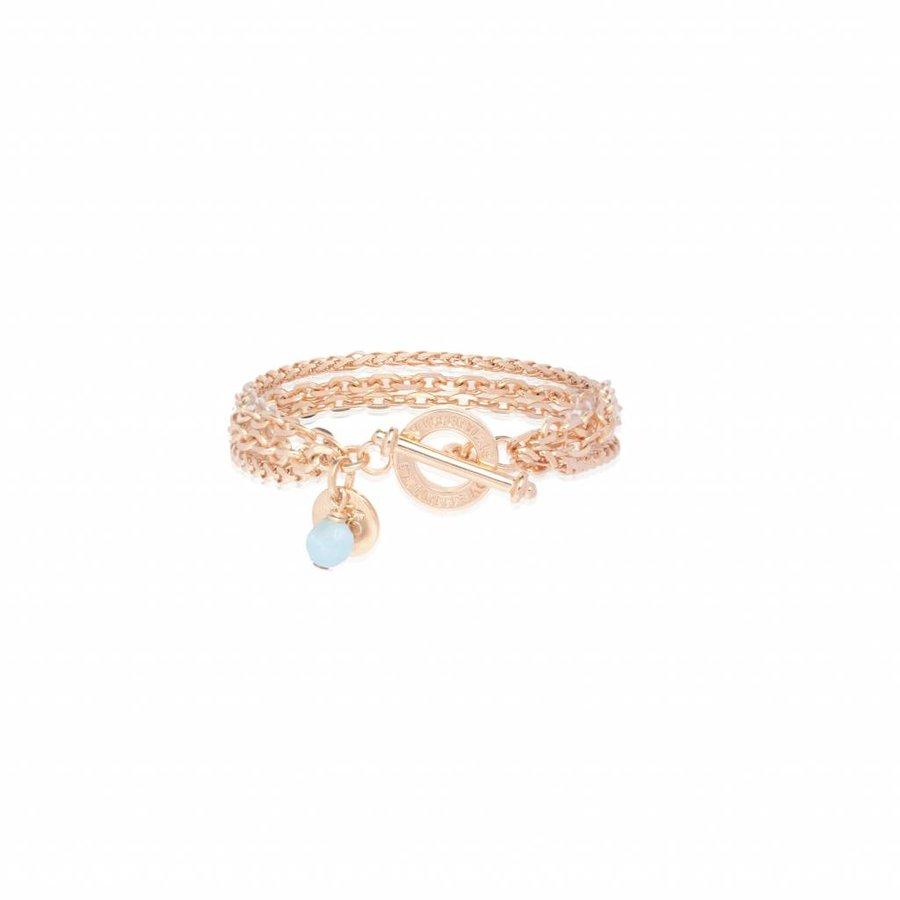 Mini 3 chain bracelet - Rose/ Aquamarine