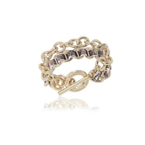 Leather double chain bracelet - Light gold/ Beige