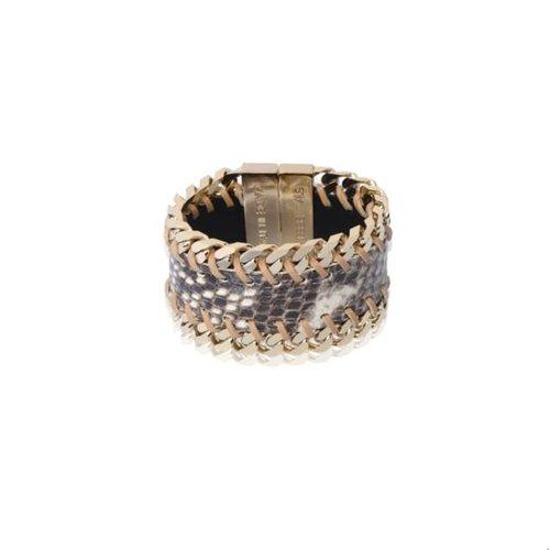 Leather gourmet bracelet - Light gold/ Beige
