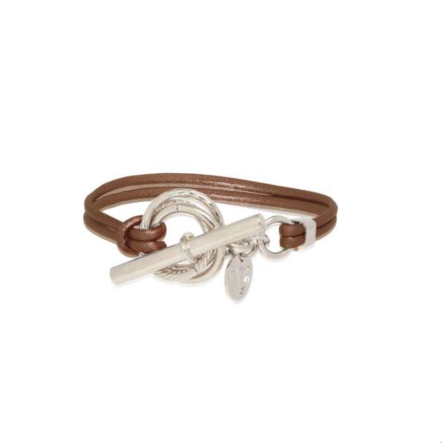 Metalic armband - Zilver/ brown metallic