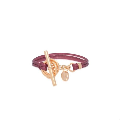 Tri rings leather bracelet - Aubergine - rose gold
