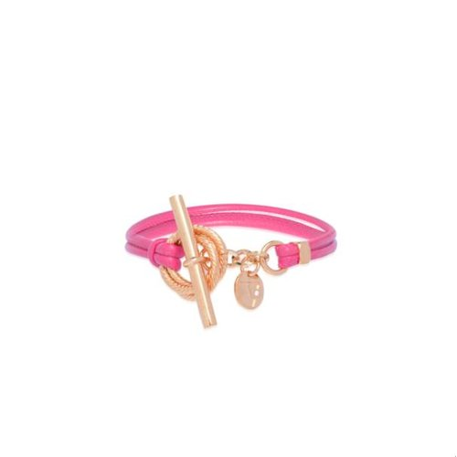 Tri rings leather bracelet - Rose/ Pink