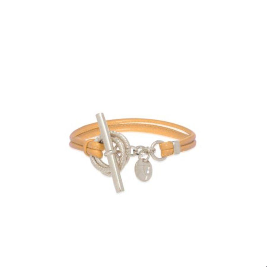 Tri rings lederen Armband - Zilver/ Ivory