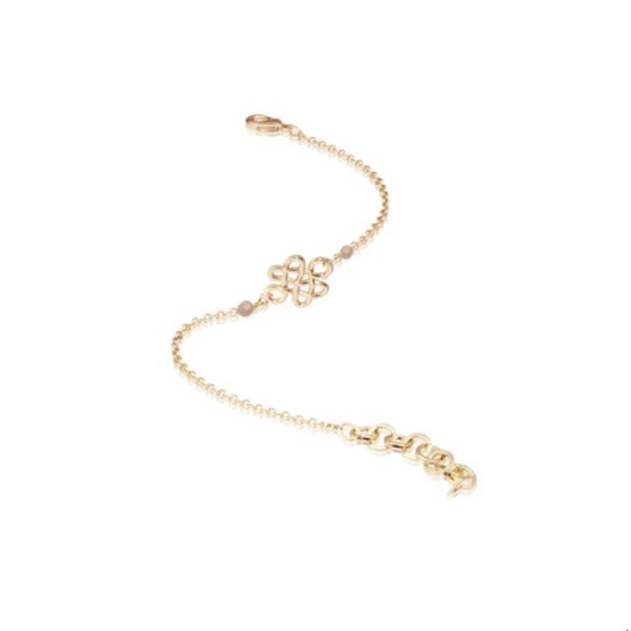 Infinity knot multi bracelet - Light gold/ Sand opal