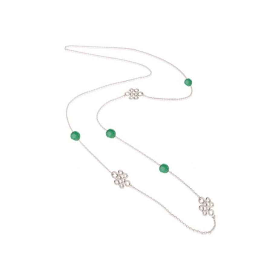 Infinity knot multi necklace - Silver/ Mint green