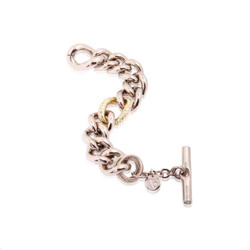 Bi colour middle strass link bracelet - Silver/ Gold
