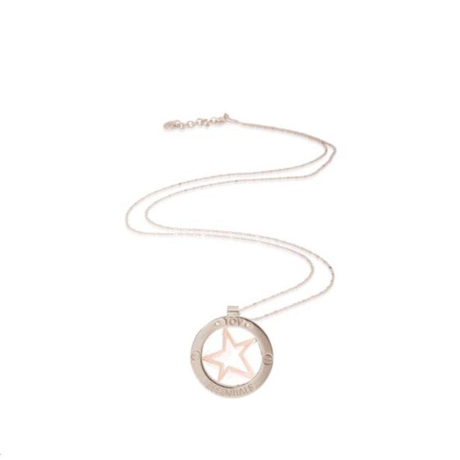 Rising star bi color medaillon ketting - Zilver/ Rosé