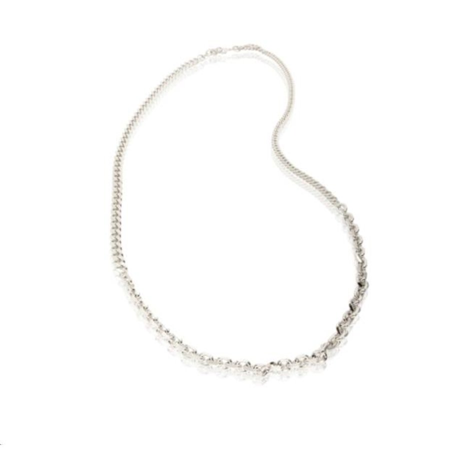 3 Types of chain long Necklace - Silver