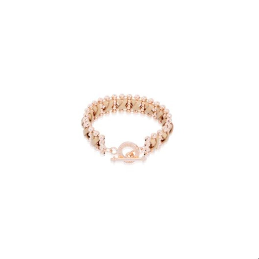 Cross leather ball chain armband - Rosé/ Taupe