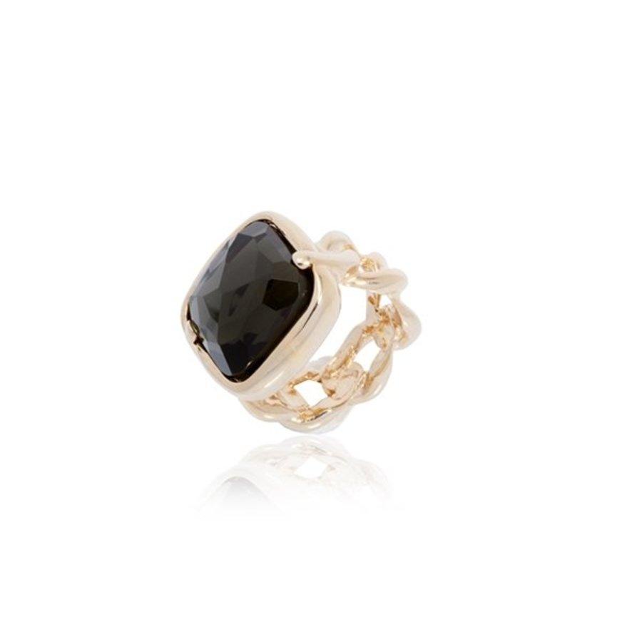 Rock it gourmte ring - Rose/ Grey quartz