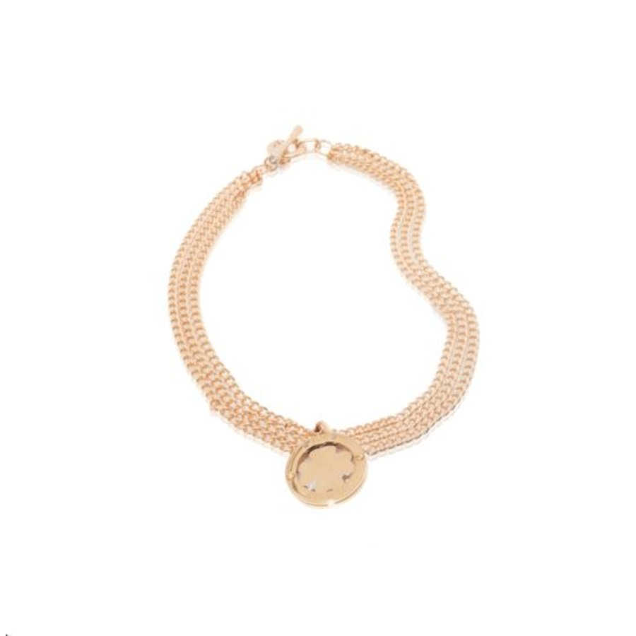 Medaillon big - multi chain - Rose/ 4leaf pendant