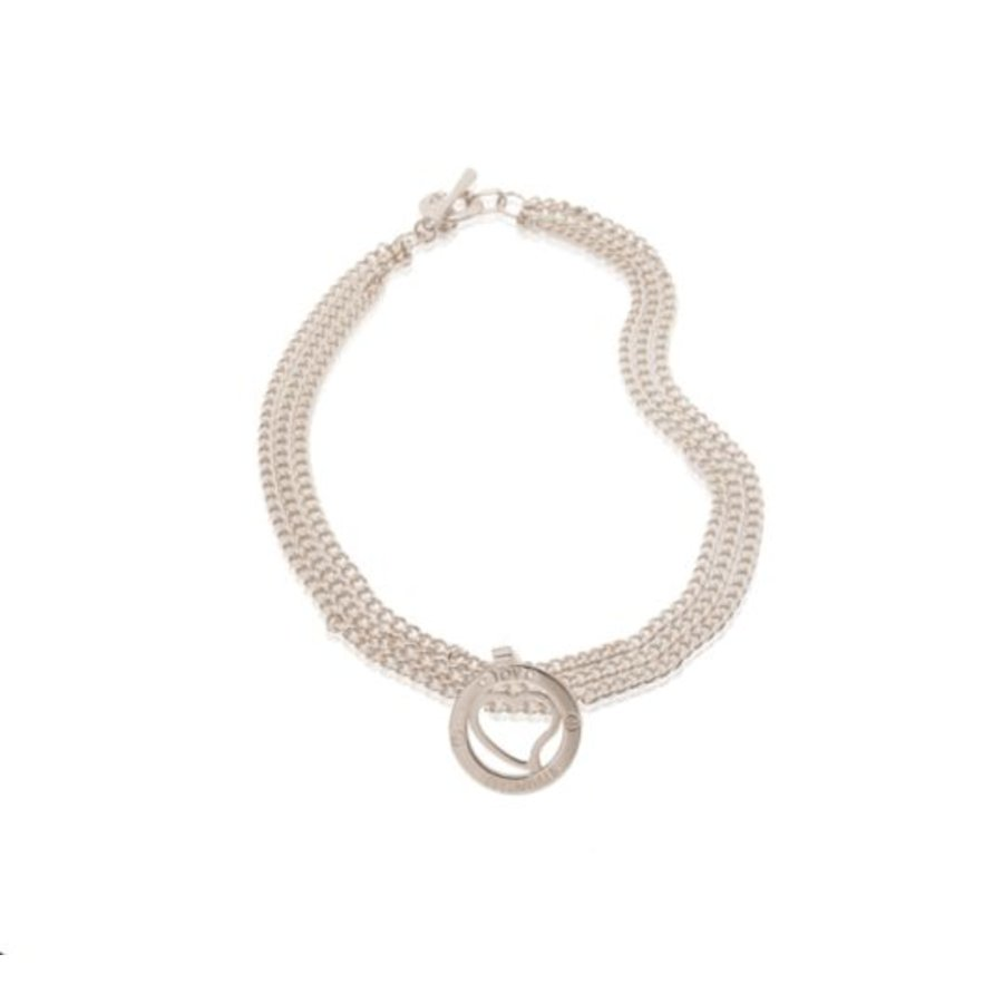 Medaillon small 3 chains necklace - Silver/ Heart pedant