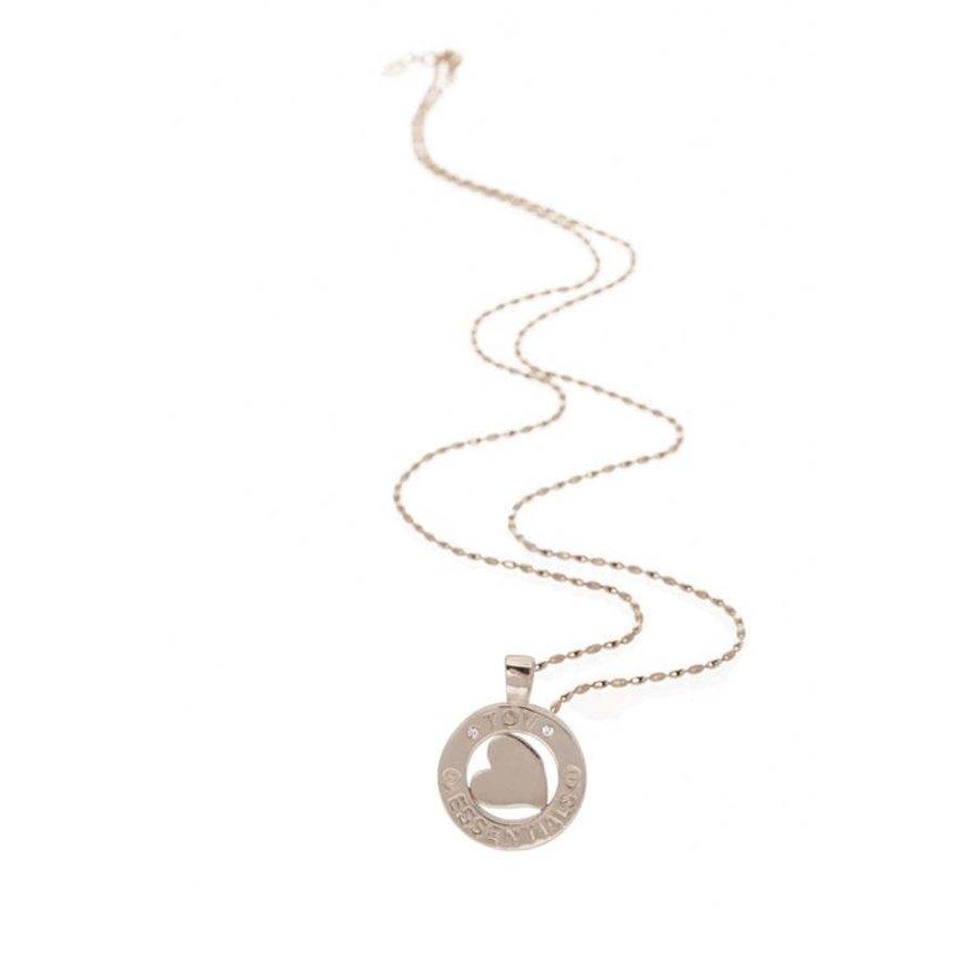 Medaillon small 85 cm ketting - Zilver/ Hart pendant