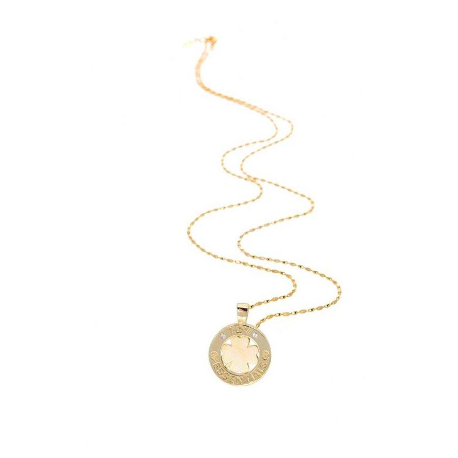 Medaillon small 85 cm ketting - Goud/ Klavervier pendant
