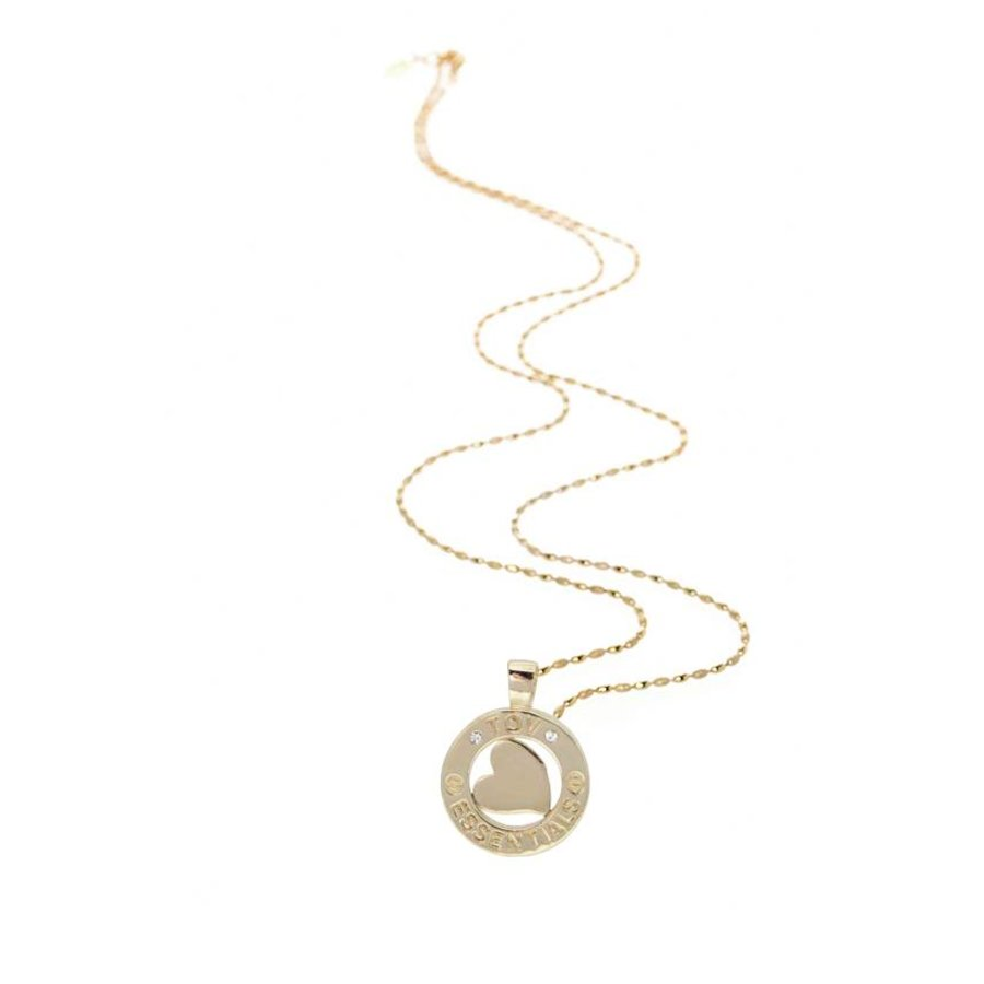 Medaillon small 85 cm necklace - Light gold/ Heart pedant