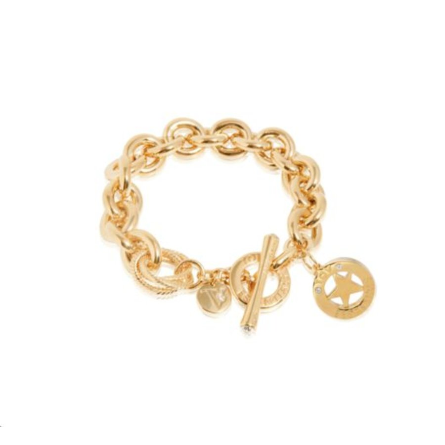 Medaillon small round gourmet armband - Goud/ Ster pendant