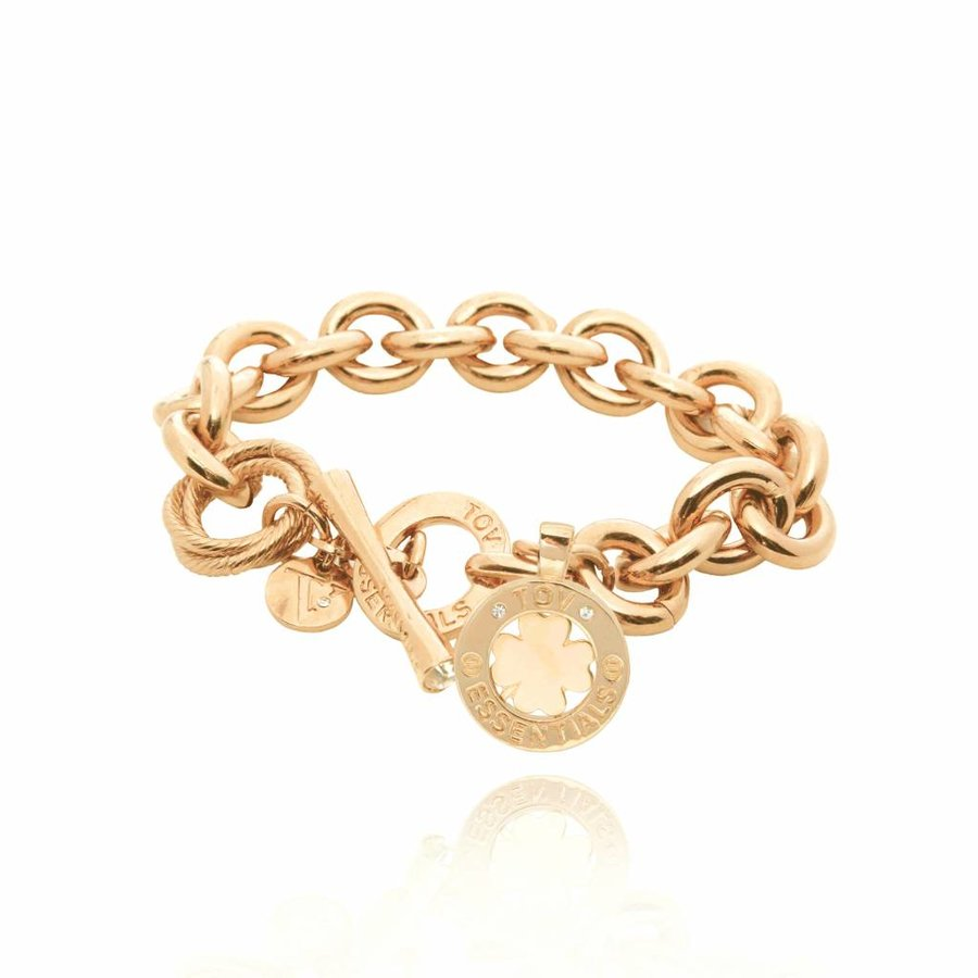 Medaillon small round gourmet armband - Goud/ Klavervier pendant