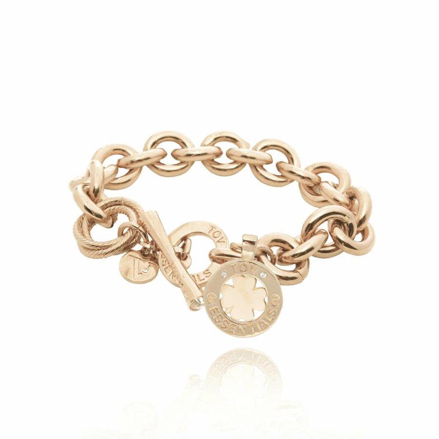 Medailon small round gourmet - Light gold/ 4leaf pendant