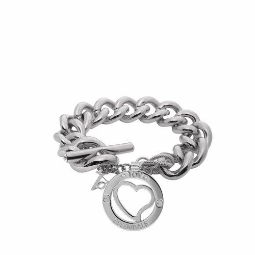 Medaillon armband - Wit goud/ Hart pendant