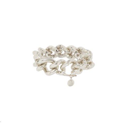 Hammered gourmet armband - Zilver