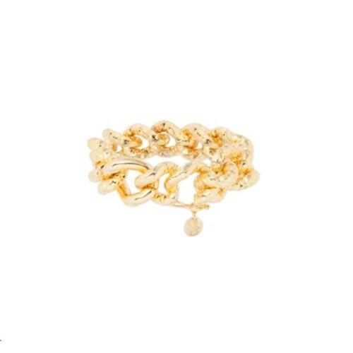 Hammered gourmet bracelet - Gold