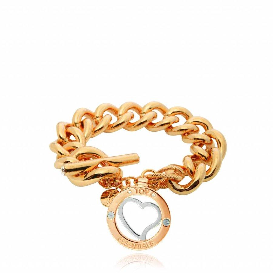 Heart bi colour Tri - Armband - Goud/ Zilver