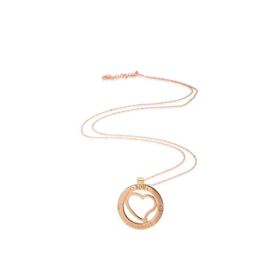 Medaillon 85cm ketting - Rosé/ Hart