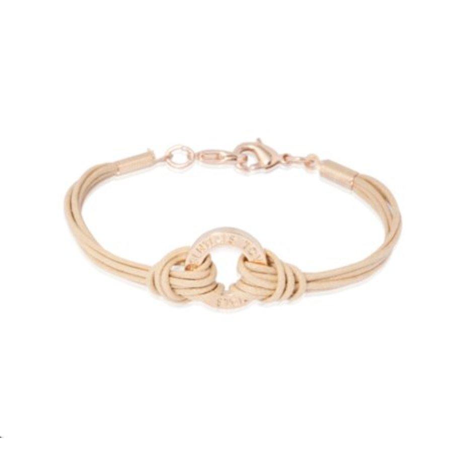 1 position cord armband - Goud/ Naturaal
