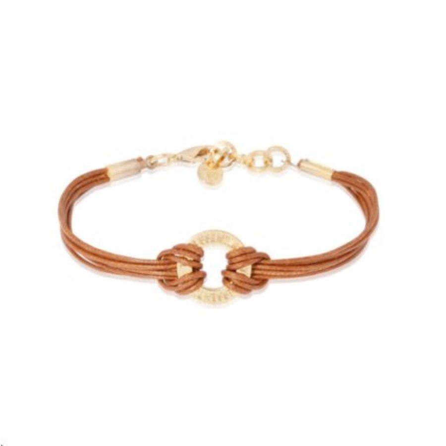 1 position cord armband - Goud/ Cognac