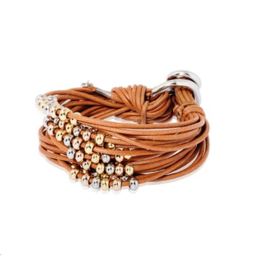 Lot's of cord multi breads - Armband - Cognac/ Goud-Witgoud - Goud-Rosé