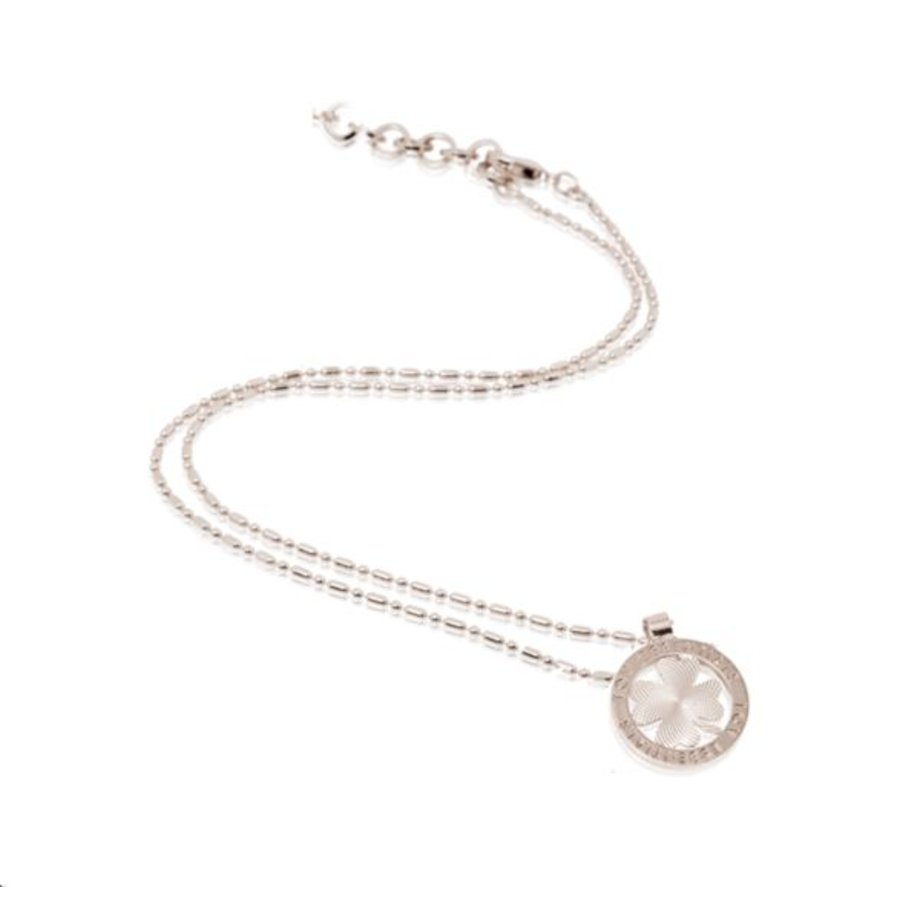 Small medaillon necklace - Silver/ 4leaf coin 2cm