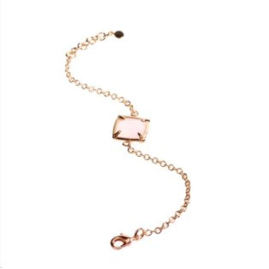 S - armband square stone - Rosé/ Rosé quartz