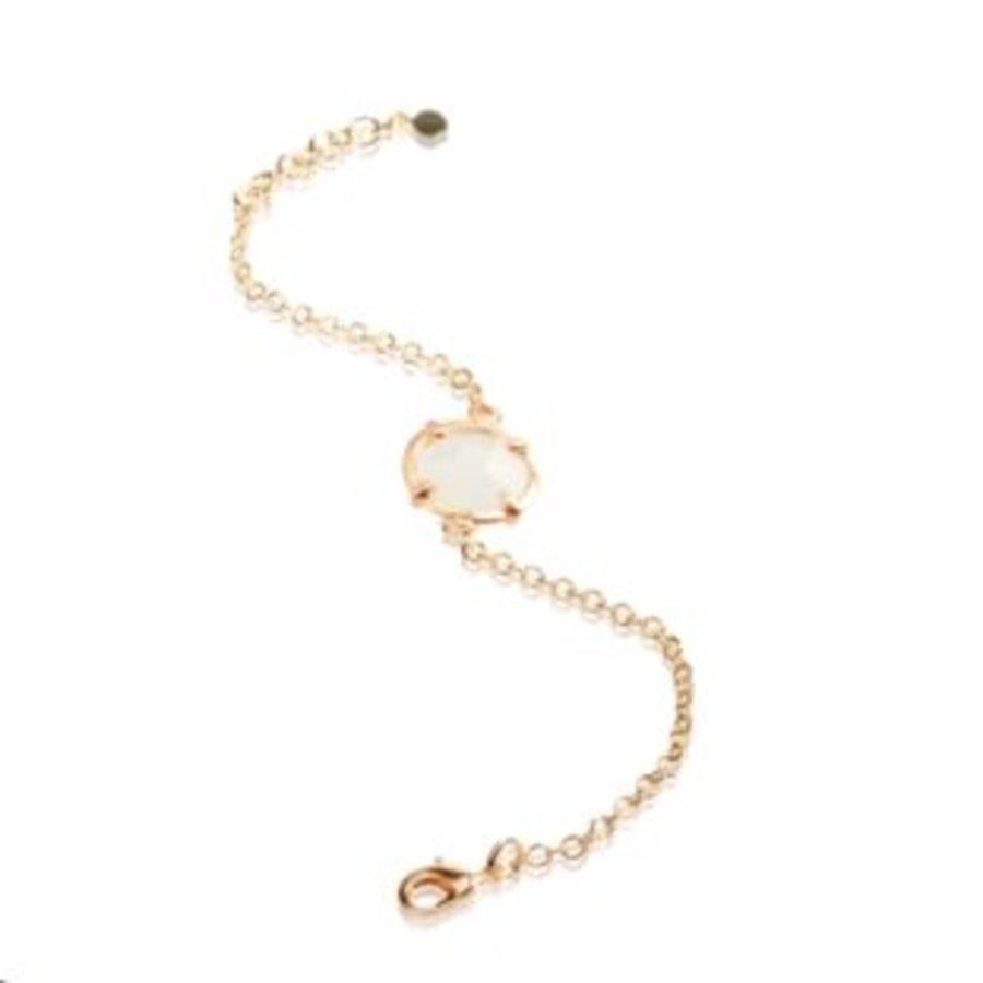 Round stone armband - Goud/ Wit quartz