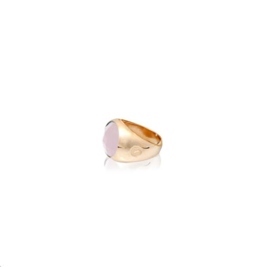 Oval stone ring 19 - Rosé/ Rosé quarts