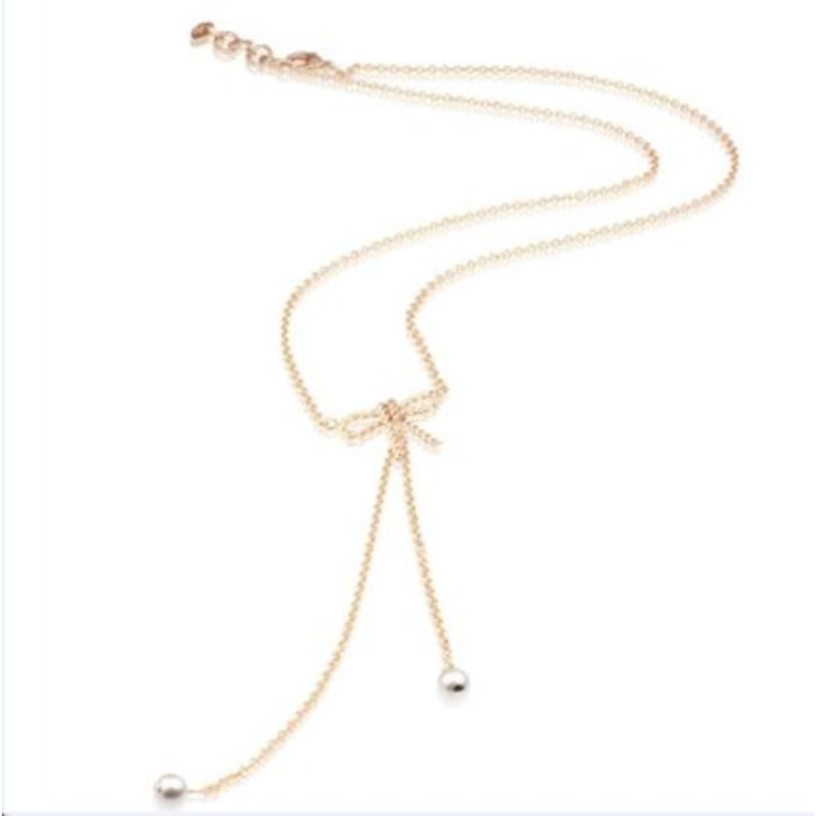 Long bow necklace - Rose/ Cream rose