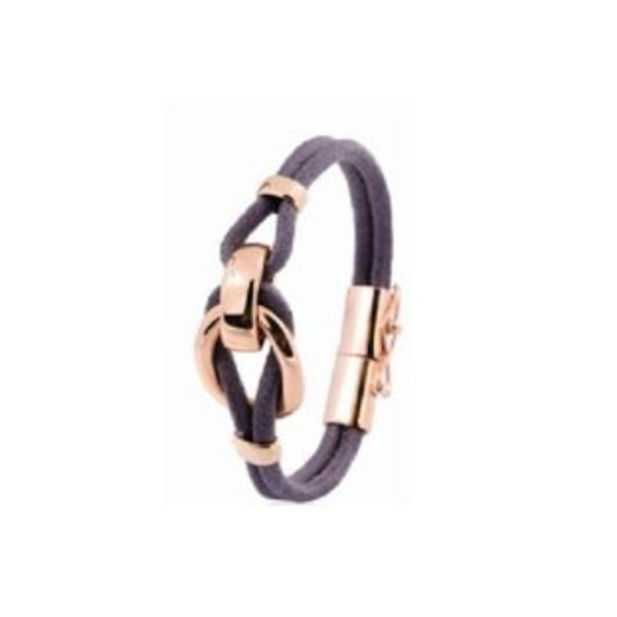 Eclips small cord bracelet - Rose/ Dark brown