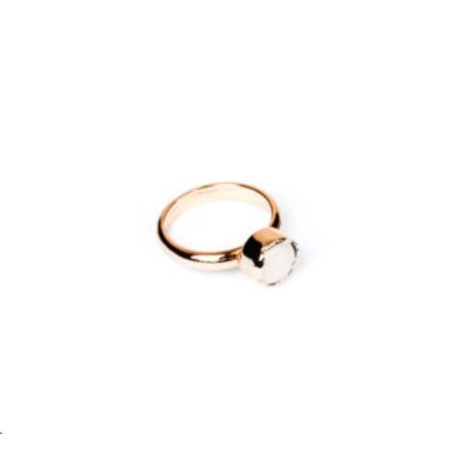 Round gemstone ring 18 - Rosé/ Wit