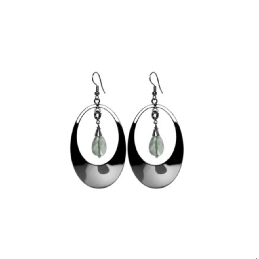 Oval gemstone oorbellen - Gun metal