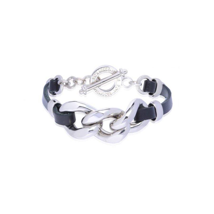 leather chain bracelet - zilver/ zwart