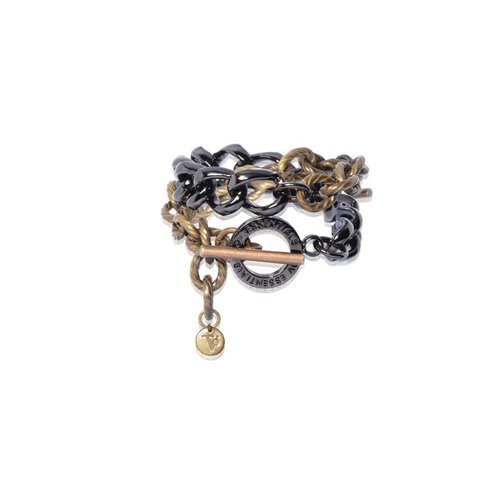 Wrap around gourmet bracelet - Light Gold/ Antique gold