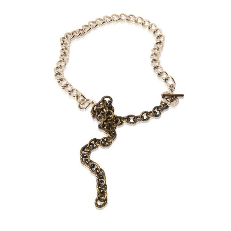Wrap around gourmet armband - Champagne goud/ antiek goud