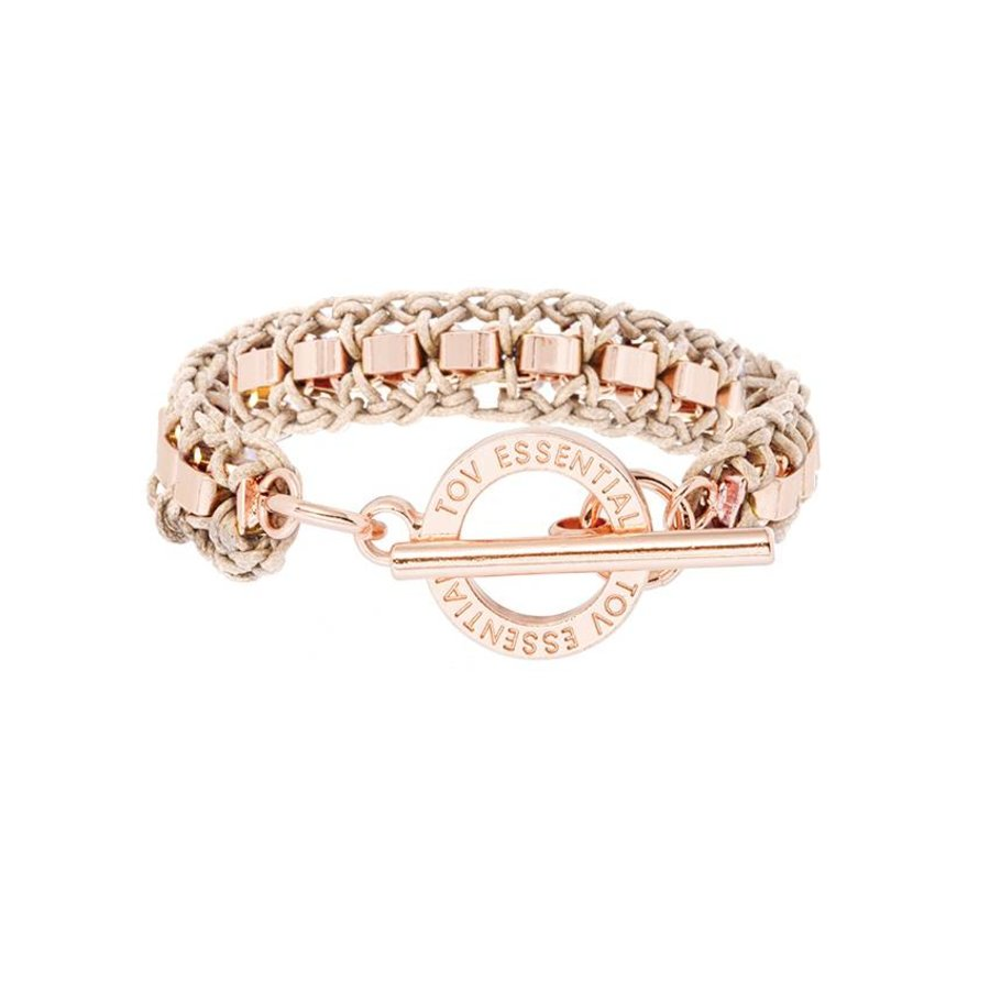 Small cord venice bracelet - Rose/ Natural