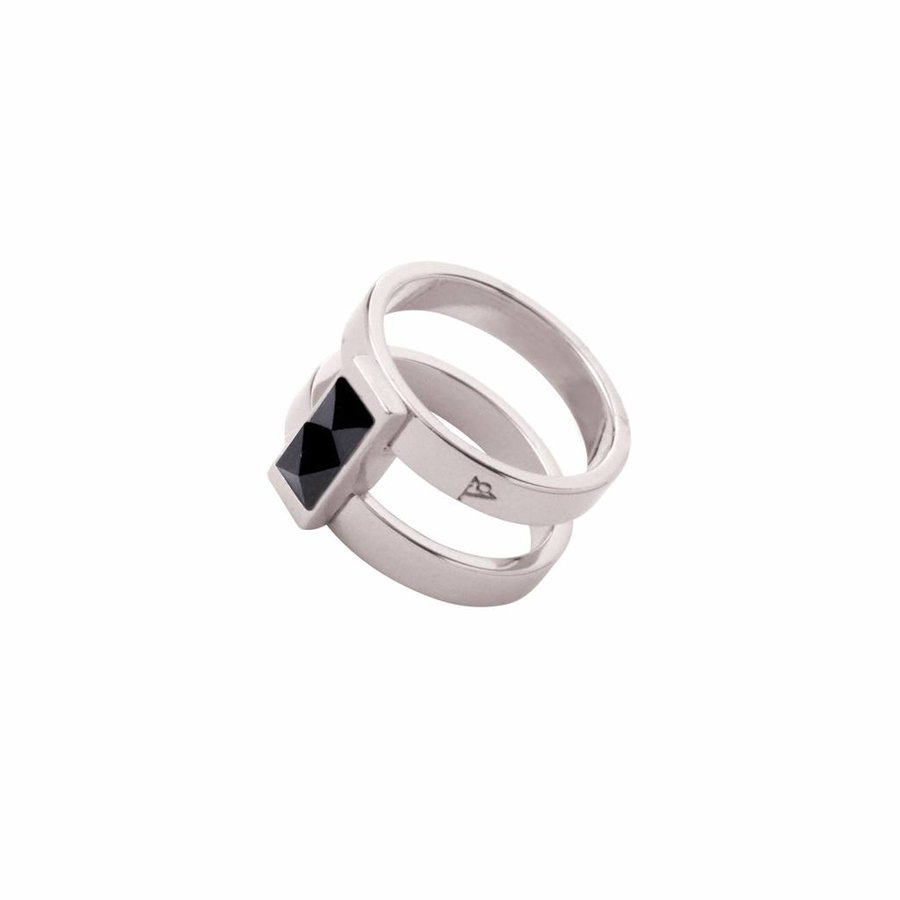 Phoenix multi ring - Wit goud/ Jet metallic