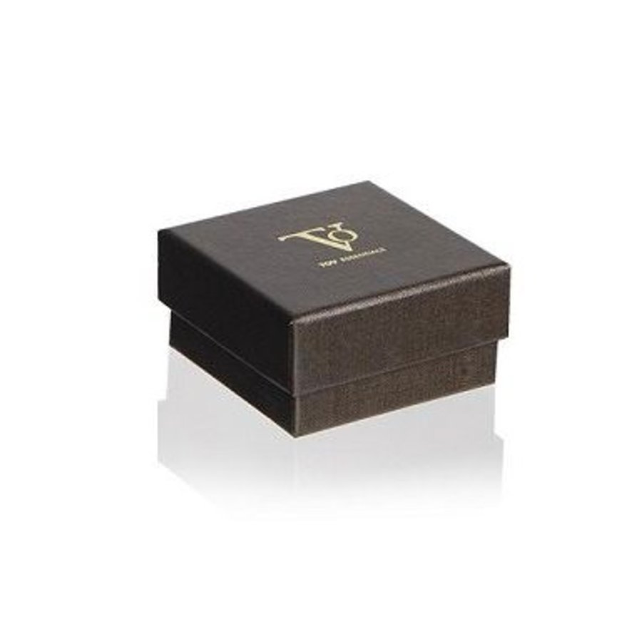 Phoenix stud oorbel - Wit goud/ Zwart diamond