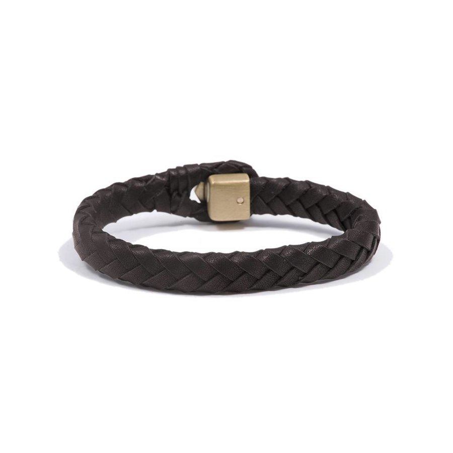 THE LOCK & LEATHER BRACELET - DARKBROWN - BRASS
