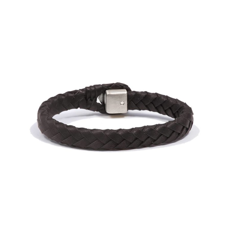 THE LOCK & LEATHER BRACELET - DARKBROWN - SILVER